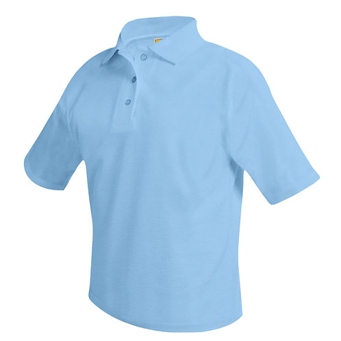 Textured knit shirt, short sleeve, ink logo, light blue, K-8