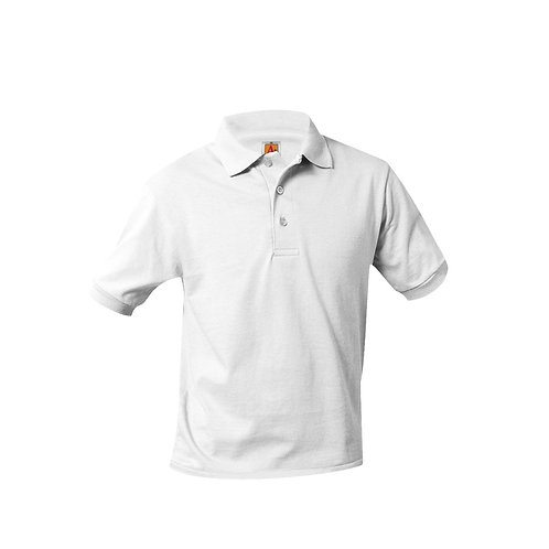 Smooth knit shirt, short sleeve, embroidered logo, White, K-8