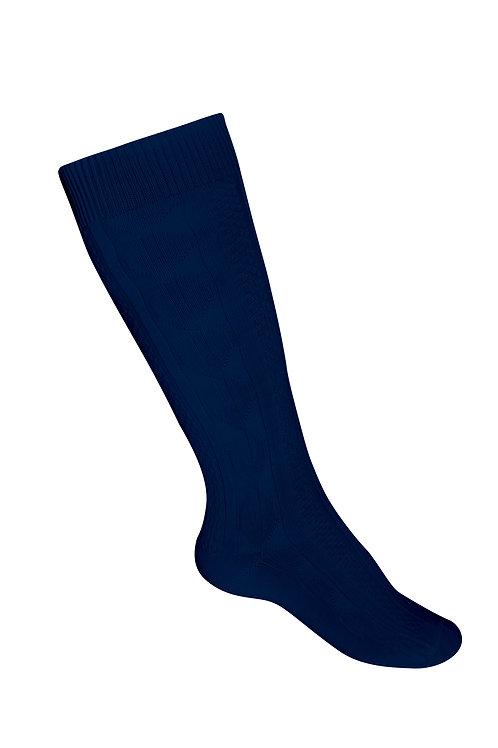 Flat knit knee socks, Cotton, Navy, K-8 (3 pair/pk)
