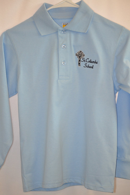 Smooth knit shirt, long sleeve, embroidered logo, Light blue, K-8