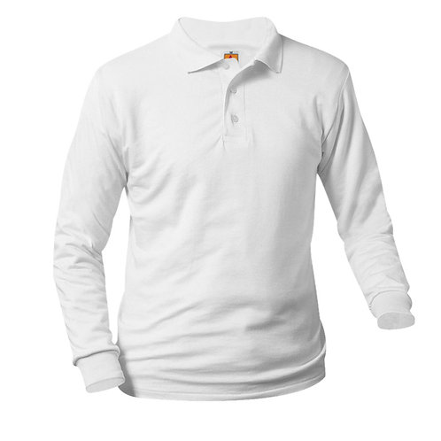 Smooth knit shirt,long sleeve, ink logo, white, K-8