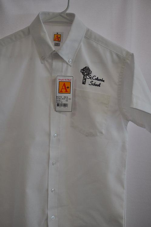 Oxford dress shirt, short sleeve, embroidered logo, White, K-8