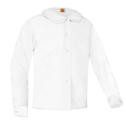 Peter Pan Blouse, Long Sleeve, White, K-4