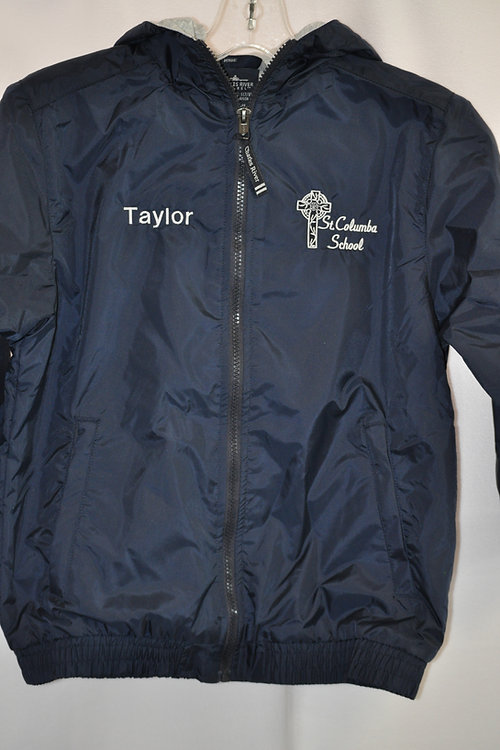 Nylon jacket, fleece lined, embroidered, Navy-PERSONALIZED