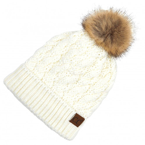 Scroll Faux-Fur Pom Hat