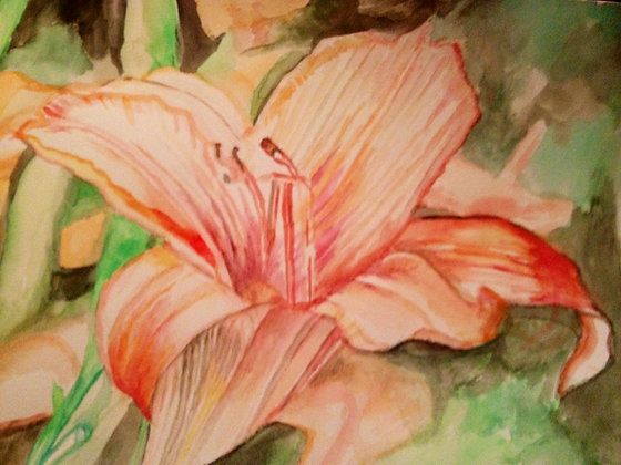 "16""x20"" print of a painting, gouache - More lilies"