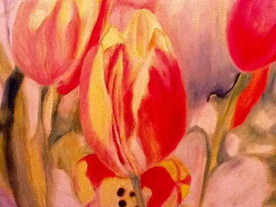 """16""""x20"""" print of a painting - Multi-colored tulips"""
