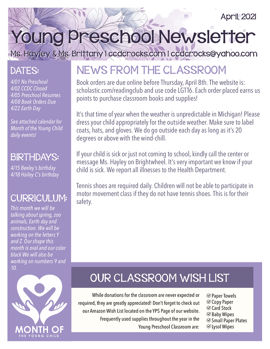 Young Preschool April Newsletter CCDC