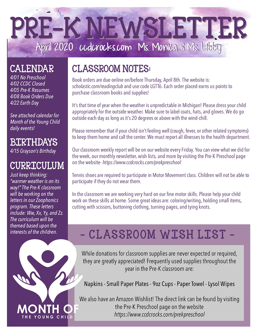 PreK Newsletter