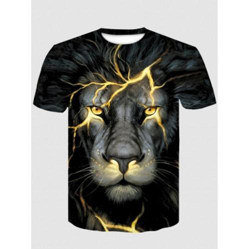 Men Casual O Neck Animal Print Black T-shirt