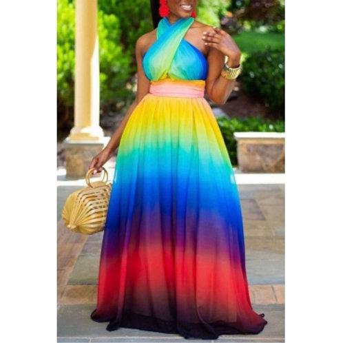 Bohemian Tie-dye Cross-over Design Multicolor Maxi Dress