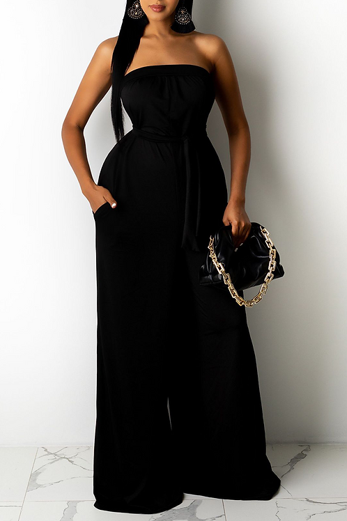 Sexy Solid Split Joint Strapless Loose Jumpsuits