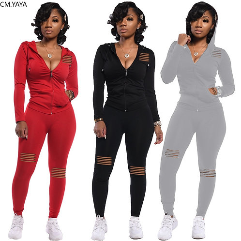 Women Set Two Pieces Set Tracksuit Long SLeeve Hoode Sweatshirt Jogger