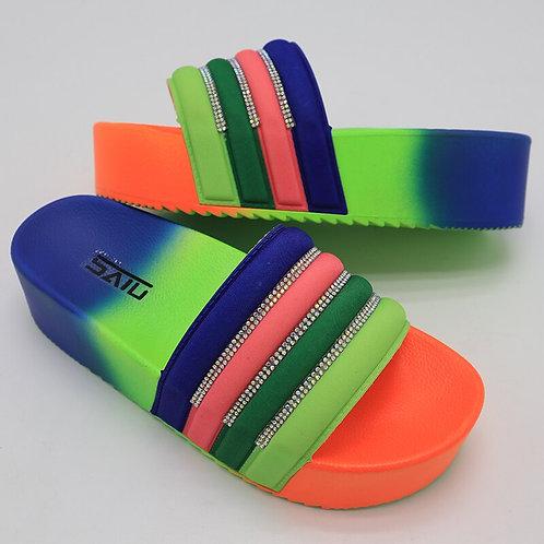 Slippers Rainbow Color Platform Wedges Heel Peep Toe