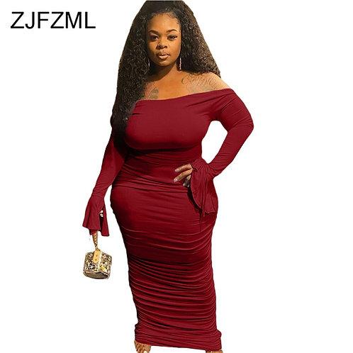 Women Off Shoulder Flare Sleeve Pleated Dress Women