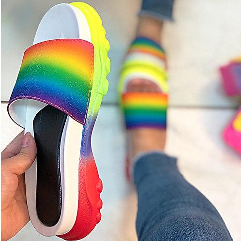 Rainbow Open Toe Slippers Women Slides