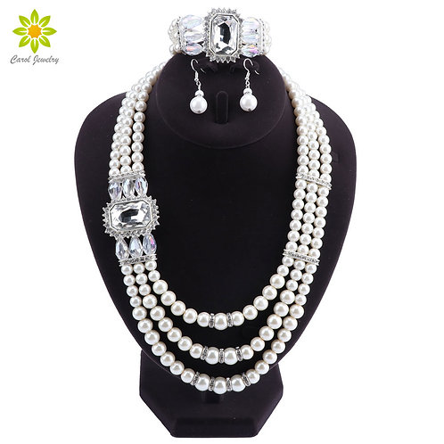 Imitation Pearl  Jewelry Sets  Accessories Crystal Bracelet Earrings Necklace