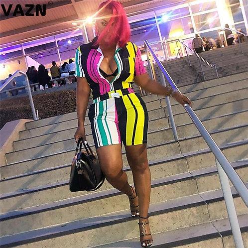 Striped Colorful Bandage Lady Jumpsuit Short Sleeve Short Pant