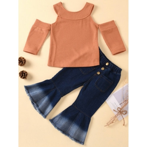 lovely Trendy Hollow-out Flared Brown Girl Two-piece Pants Set