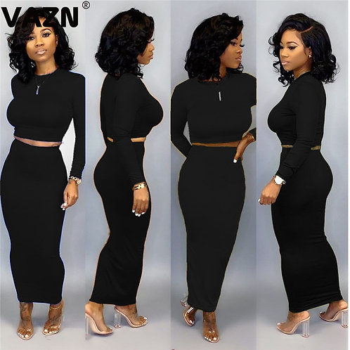 O-Neck Sexy 2020 Set Full Sleeve 2 Piece Sets Night Club Young Punk Style Sets