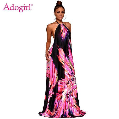 Women Fashion Print Casual Maxi Dress Halter Backless Loose Long Dress