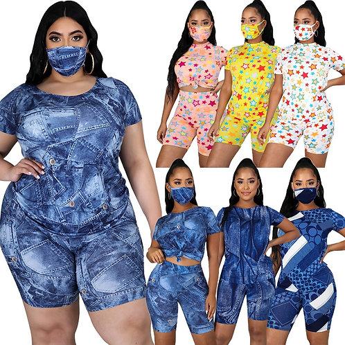 Women Short Sets 2 Piece Outfits Plus Size 4XL 5XL XXXXL XXXXXL