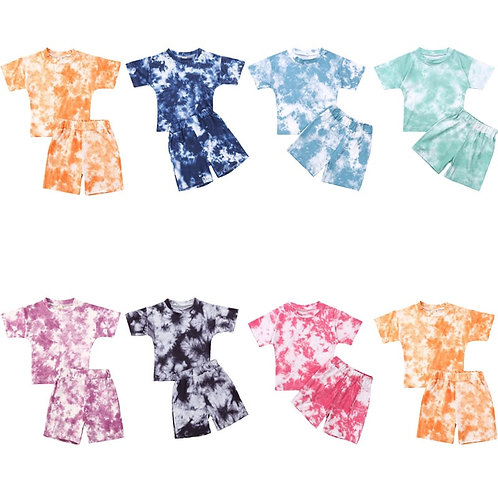 Infant Baby Girls Tie-Dye Printed Clothes Sets