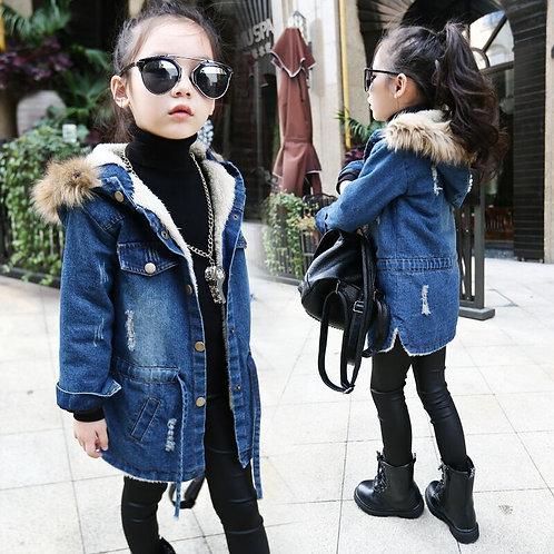 Winter Kids Girls Denim Jacket Children
