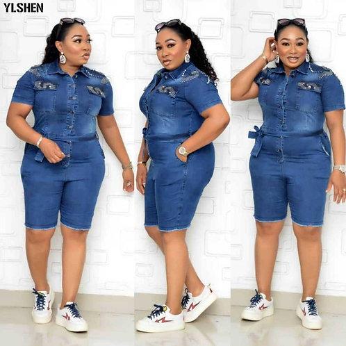 African Dresses for Women Denim Jumpsuit Plus Size