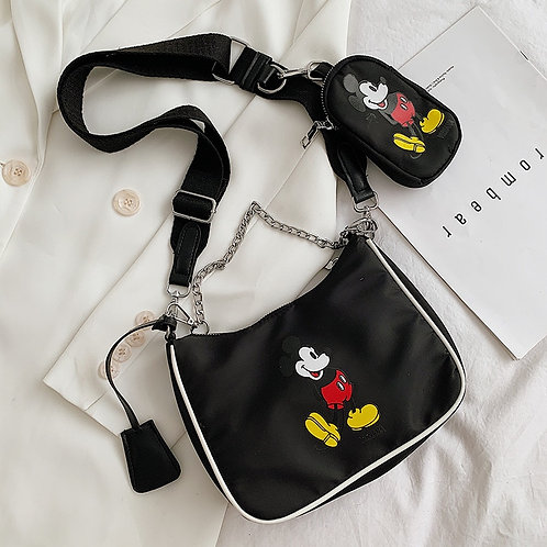 2pcs  Disney Girl Canves Messenger Bag Coin Bag Cartoon Mickey