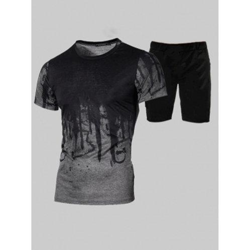 Men Casual O Neck Print Patchwork Dark Grey Two Piece Shorts Set