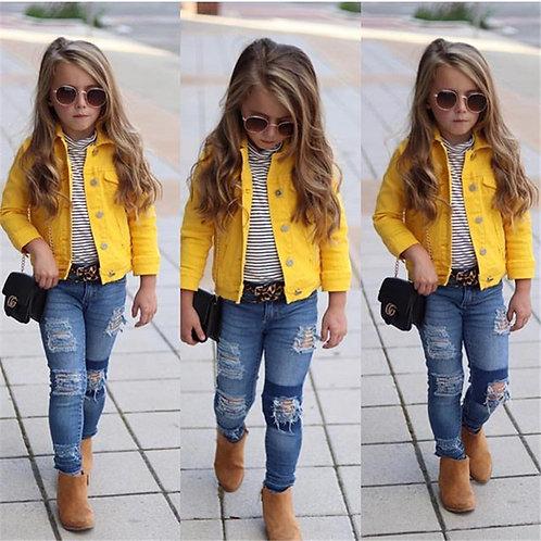 Kids Baby Girls Denim Jacket Button Coat Outerwear Tops Clothes