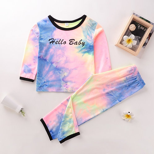 Kids Baby Girls Boys Long Sleeve Tie-Dyed T-Shirt Tops Pants Outfits Set