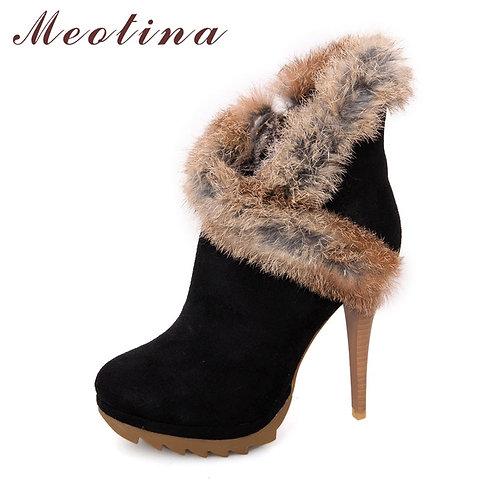 Women Ankle Boots Winter Platform Boots High Heels Rabbit Fur