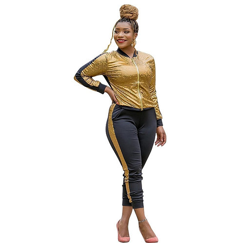 Two Piece Set Women Zipper Stand Collar Jacket Tops and Skinny Pants
