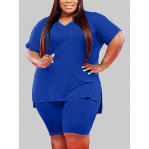 Casual V Neck Split Blue Plus Size Two-piece Shorts Set
