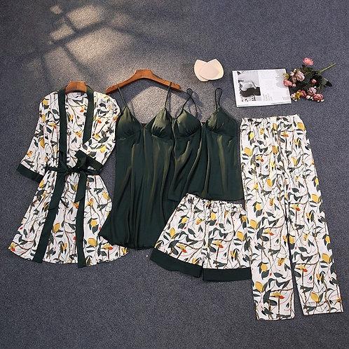Print Pajamas Set Silky Women 5 Piece Sleepwear Satin Lace Sleep