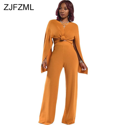 Plus Size Two Piece Set Women Autumn Winter Clothes Split Long Sleeve