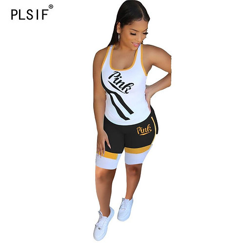 Women Tracksuits Tight Vest Tops + Skinny Shorts 2 Piece Set