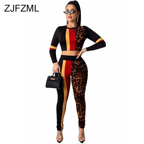 Two Piece Set Tracksuit Women O Neck Long Sleeve Crop Top and Fitness Pants