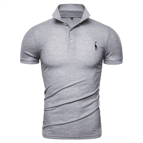 Mens Polo Shirts Solid Slim Fit Turn-Down Collar Cotton