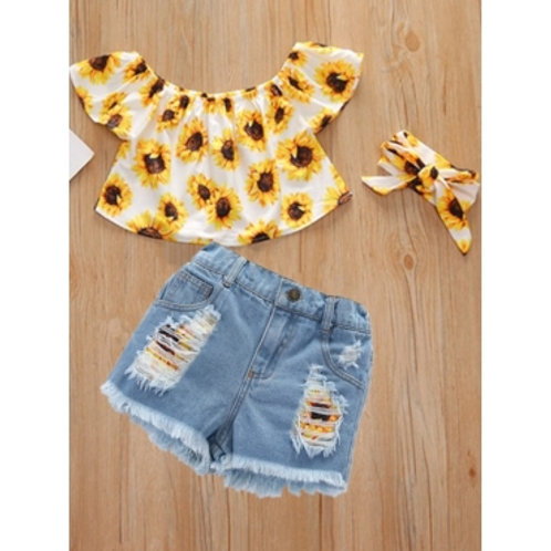 Girl Sweet Floral Print Ripped Yellow Two Piece Shorts Set(With Headband)