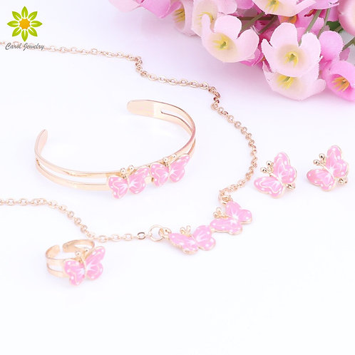 Gold Color Lovely Butterfly Children Jewelry Baby Sets