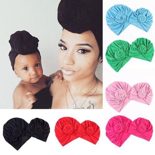 2Pcs Knot Turban Indian Hat Mother Girls Kids Turban Headband