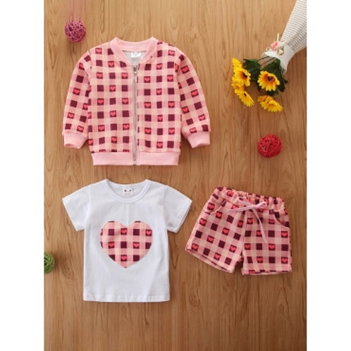 Girl Sweet Heart-shaped Plaid Print Pink Two Piece Shorts Set
