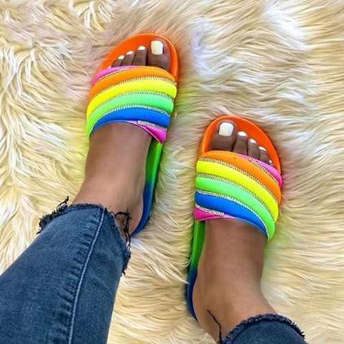 Woman Slippers Female Slip on Mix Color INS Beach Vacation Slippers Women Shoes