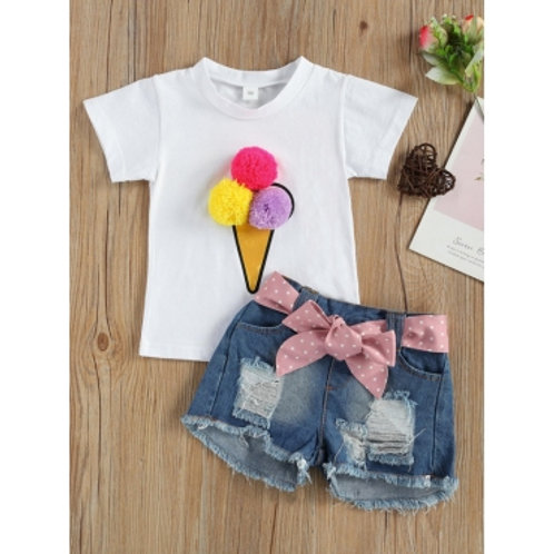 Girl Street Ripped Bow-tie Decoration White Two Piece Shorts Set