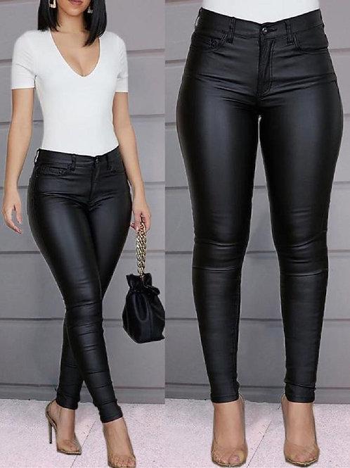 Women Pu Leather Pants Black Sexy Stretch Bodycon