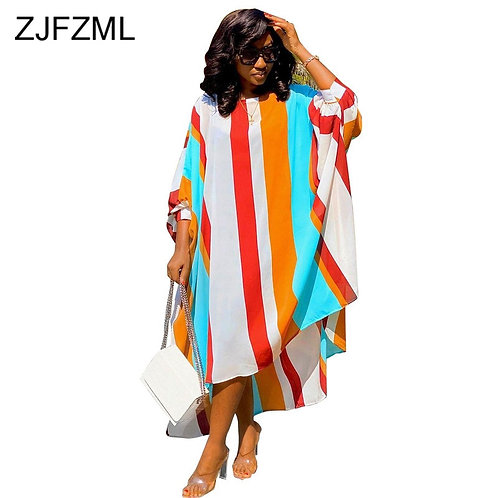 Chiffon Loose Striped Print Elegant Dresses Women Round Collar