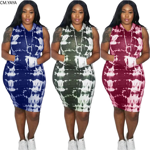 Active Wear Tie Dye Print Hooded Sleeveless Plus Size L-4xl Women Bodycon